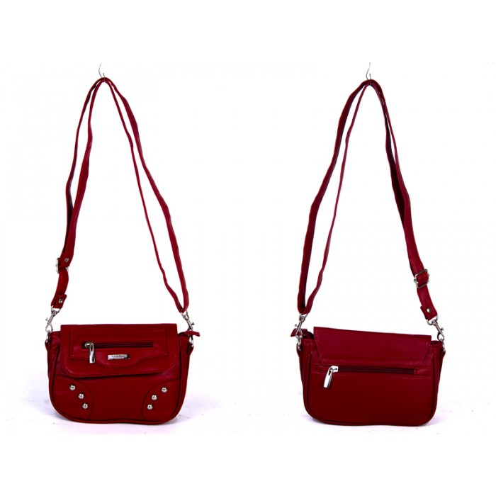 5869 RED PU X BODY SML FLAP HANDBAG