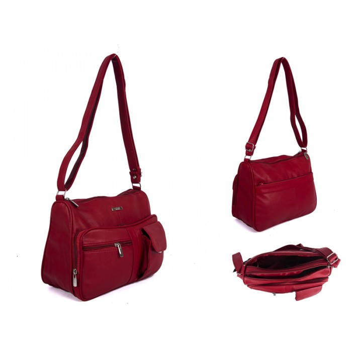 5869 RED PU BAG WITH 5 ZIPS AND POP POCKET