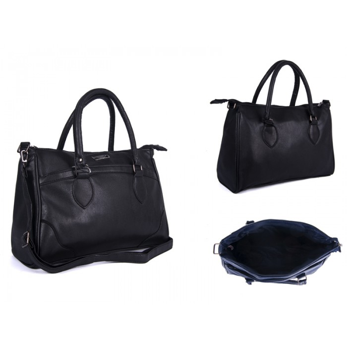 5883 BLACK Lorenz shoulder bag with 2 zips