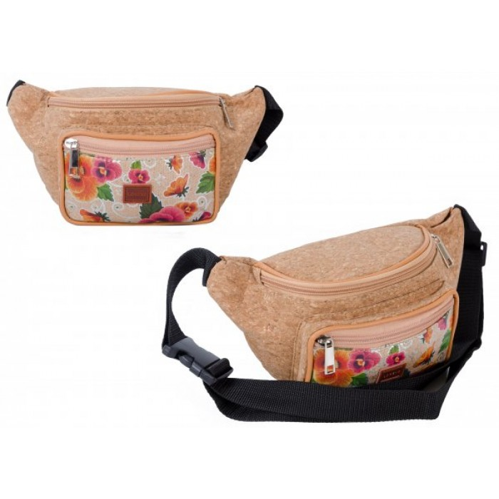 7205 METALLIC FLOWERS BUMBAG WITH FRONT ZIPPED POCKET