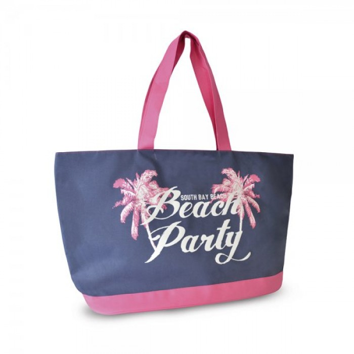 BB1025 600D BAG WITH SLOGAN PRINT BEACH PARTY NAVY