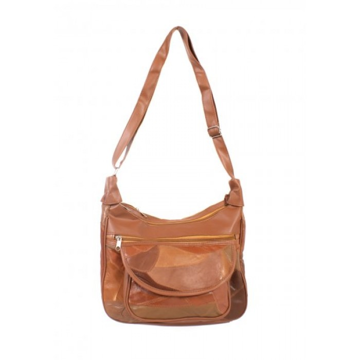 4775 TAN Twin Top Zip Ptch Bag wt Frnt Pkt, Bk Zip