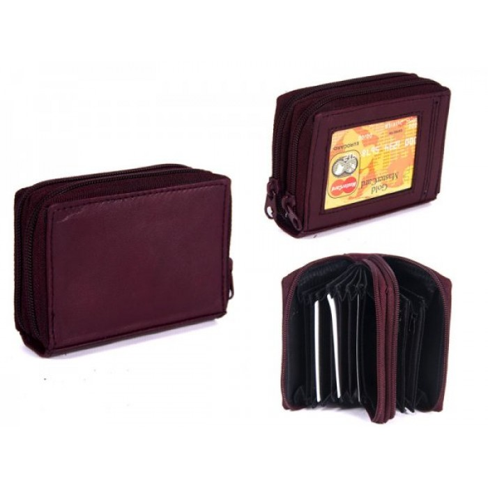 PW-02 BURGUNDY REAL LEATHER TWO ZIP CARD HOLDER PURSE