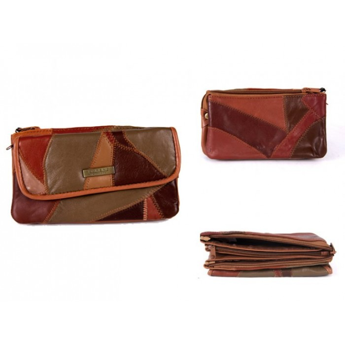 4684 TAN LEATHER PATCHWORK PURSE