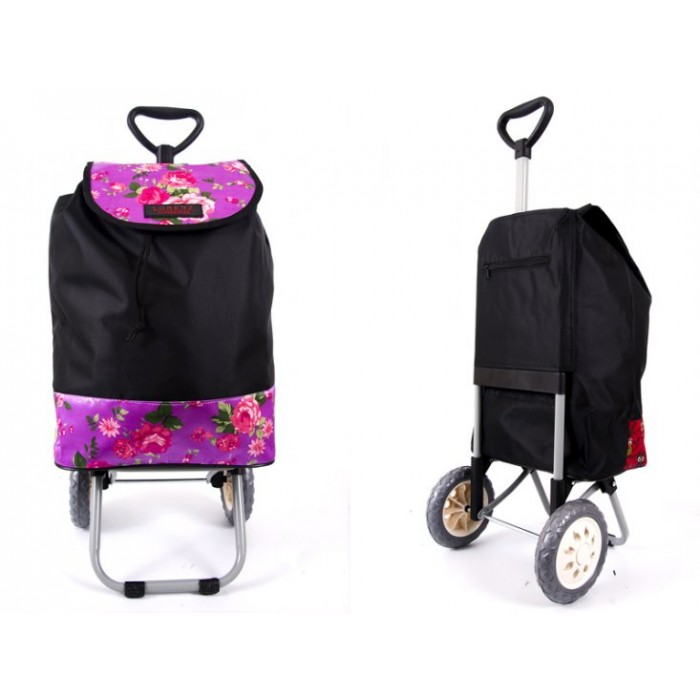 6957 BLACK PINK ROSES Shopping Trolley with Adjustable Handle