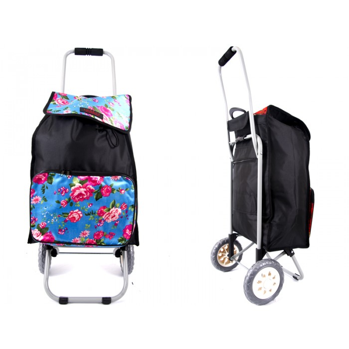 6956 blue flowers Shopping Trolley with Folding back Frame
