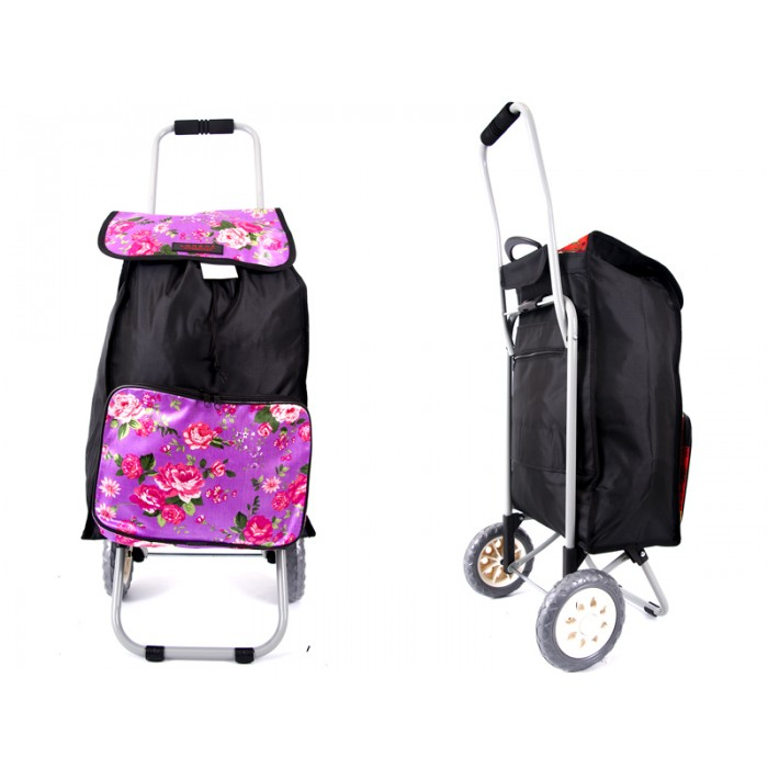6956 pink flowers Shopping Trolley with Folding back Frame
