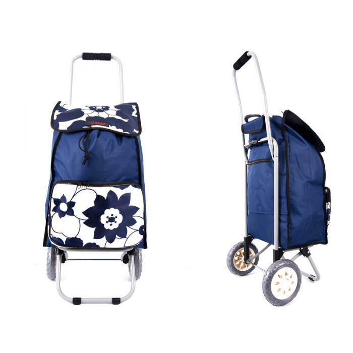 6956 Navy Flower Shopping Trolley with Folding back Frame