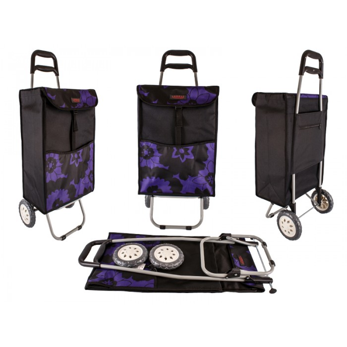 6961/W PURPLE&BLACK FLOWERS