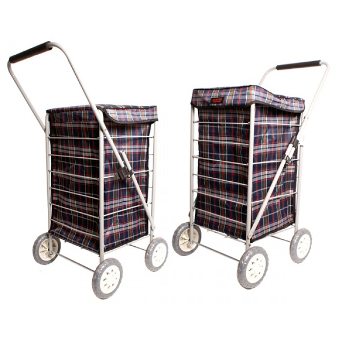 6963 NAVY CHECK 4 WHEEL CAGE SHOPPING TROLLEY