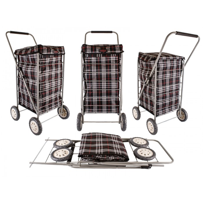 6963/W BLACK CHECK 4 WHEEL CAGE SHOPPING TROLLEY