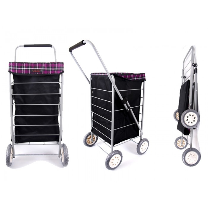 6963 Purple Check 4 Wheel Cage Shopping Trolley