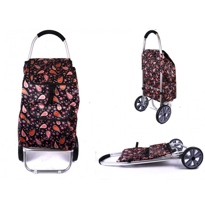 6965 RED PAISLEY 2 WHEEL SHOPPING TROLLEY, FRONT & SIDE POCK