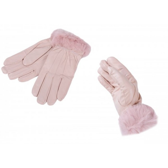 LG-001 LARGE PINK LEATHER GLOVES W/ FUR