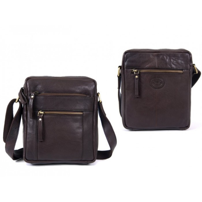 0800 BROWN F.GRN C.HIDE MED. UNISEX CROSS BODY BAG WTH 4 ZIPS