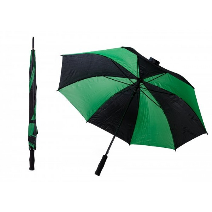 JBUB13 BLACK AND GREEN TRIGGERED GOLF STRIPED UMBRELLA