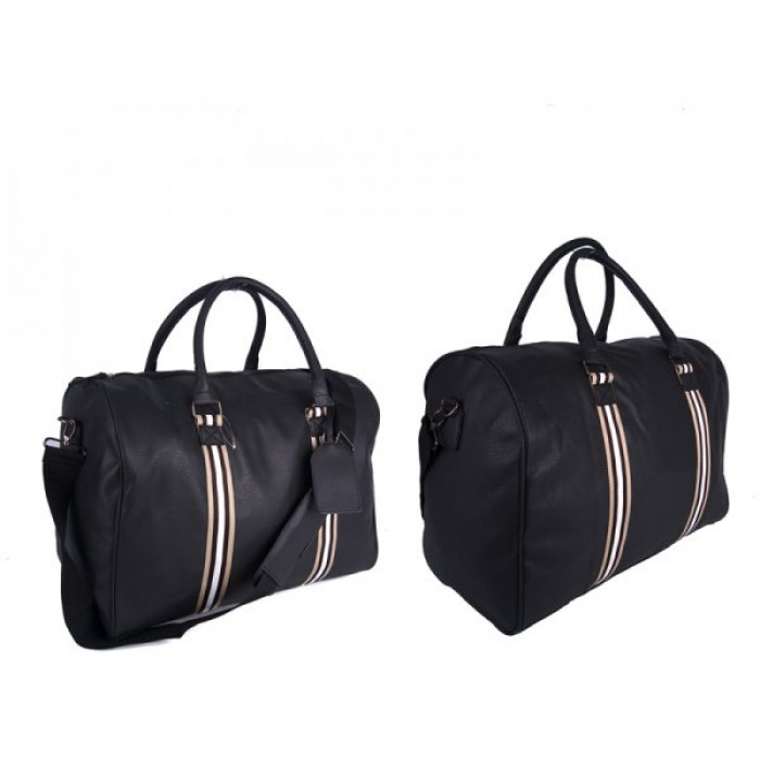 JBTB50 BLACK PU HOLDALL GYM BAG WITH ADJUSTABLE STRAP