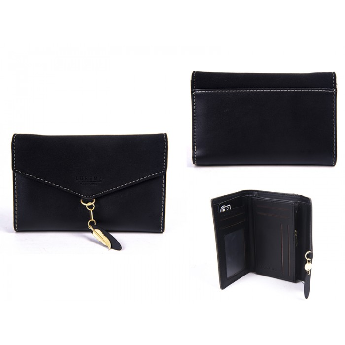 7145 BLACK MED ENVELOPE STYLE FLAPOVER PURSERFID CHARM