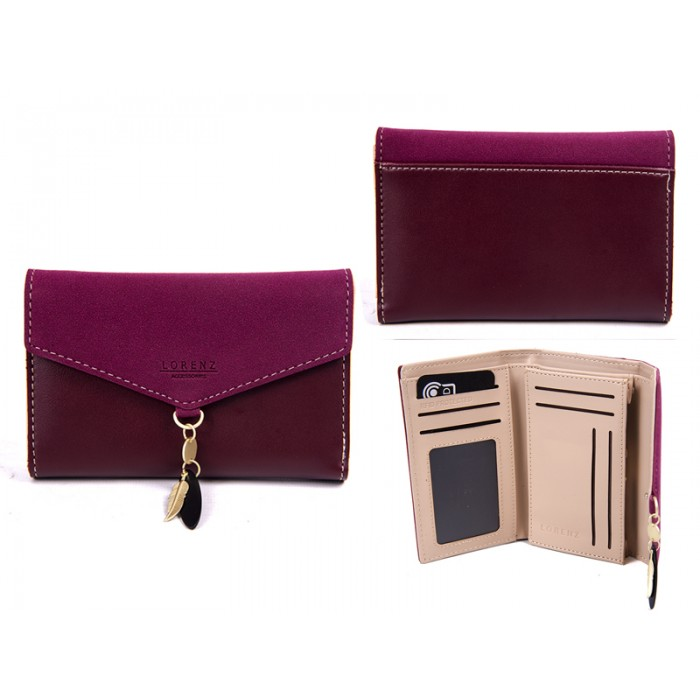 7145 BURGANDY MED ENVELOPE STYLE FLAPOVER PURSERFID CHARM