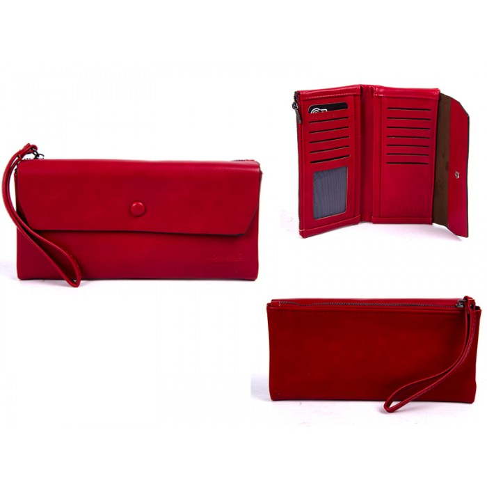 7148 RED LARGE FLAPOVER STYLE PURSE RFID