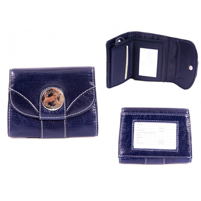 7433 BLUE PU PURSE WITH POPPERED FRONT ID REAR