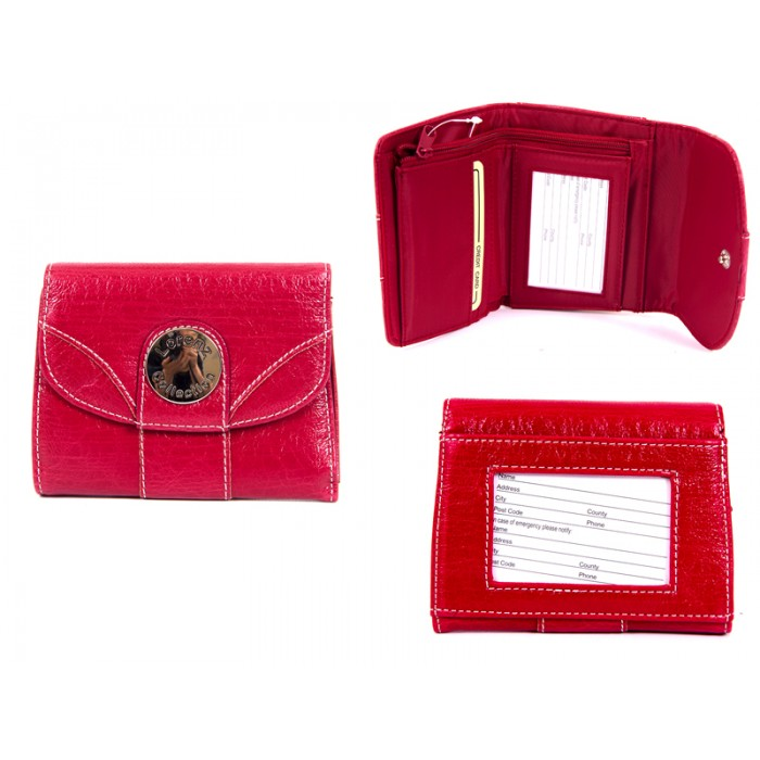 7433 RED PU PURSE WITH POPPERED FRONT ID REAR