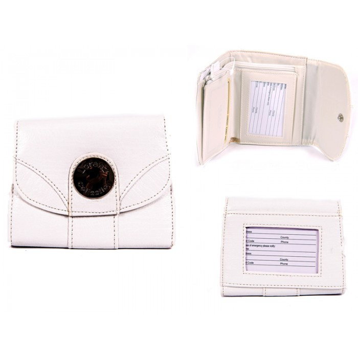 7433 WHITE PU PURSE WITH POPPERED FRONT ID REAR