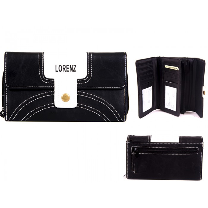7503 BLACK PU PURSE WITH POPPERED FRONT zip rear