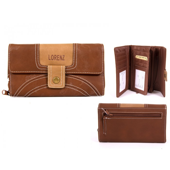 7503 D.BROWN PU PURSE WITH POPPERED FRONT zip rear