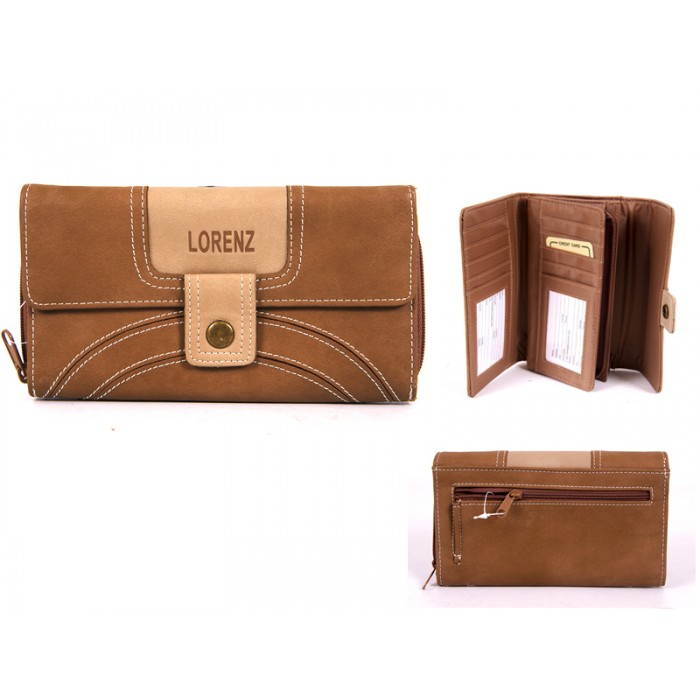 7503 L.BROWN PU PURSE WITH POPPERED FRONT zip rear