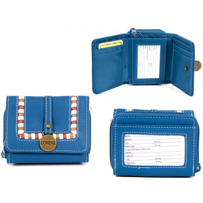 7538 BLUE PU PURSE WITH BRASS TAG & FAB DETAIL