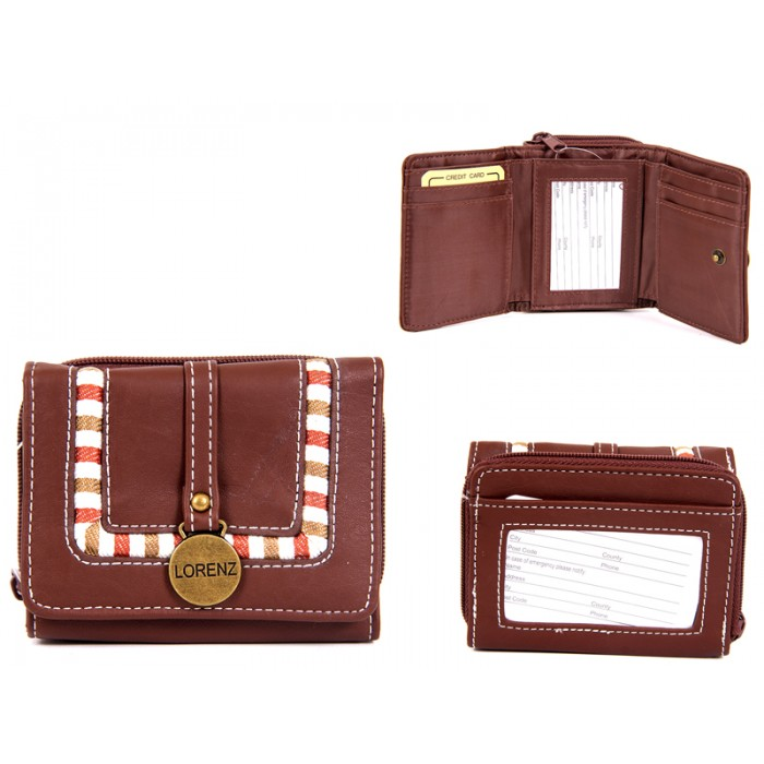7538 BROWN PU PURSE WITH BRASS TAG & FAB DETAIL