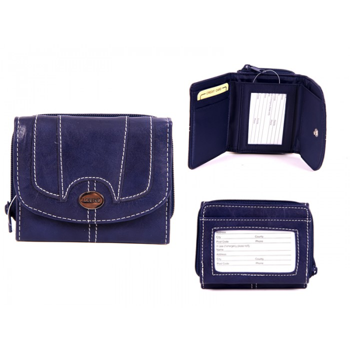 7651 BLUE PU PURSE WITH POPPERED FRONT ID REAR