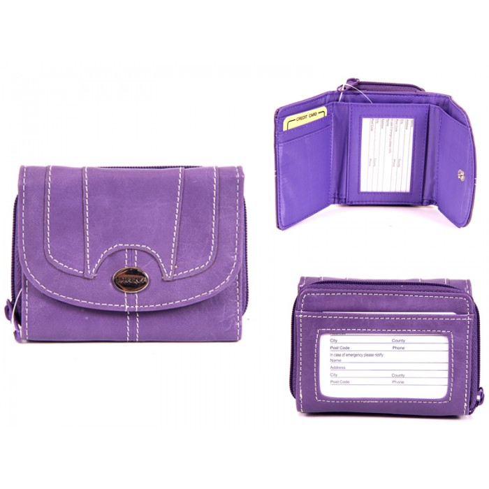 7651 PURPLE PU PURSE WITH POPPERED FRONT ID REAR