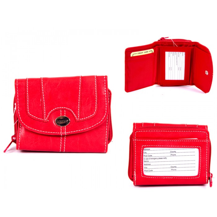 7651 RED PU PURSE WITH POPPERED FRONT ID REAR