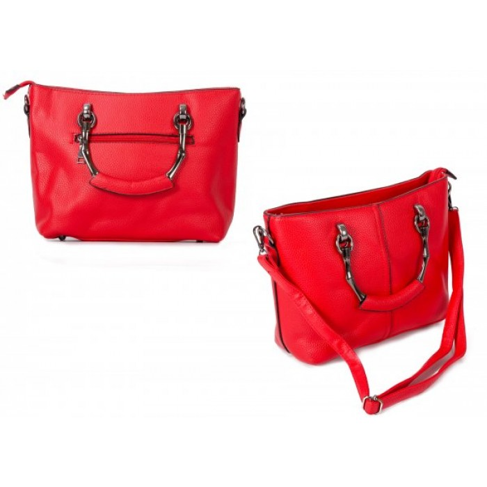 598 RED PU HANDBAG WITH CROSSBODY STRAP