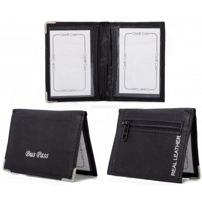 BCZL BLACK LEATHER BUS WALLET