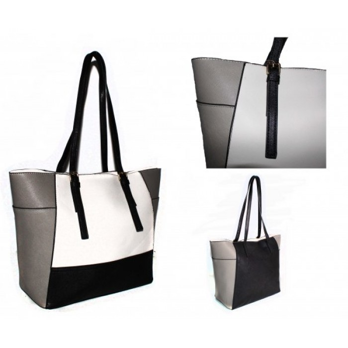 JBFB266 - WHITE / GREY - HANDBAG WITH ADJUSTABLE STRAP
