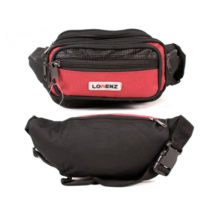 8046 BLACK/RED MULIT ZIP BUMBAG-7 ZIPS & 2 FRNT POUCHES