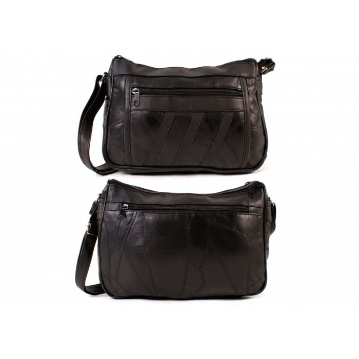 4768SPECIAL BLACK ECON. PTCH DBLE TOP ZIP BAG, BK, FRNT ZIPS