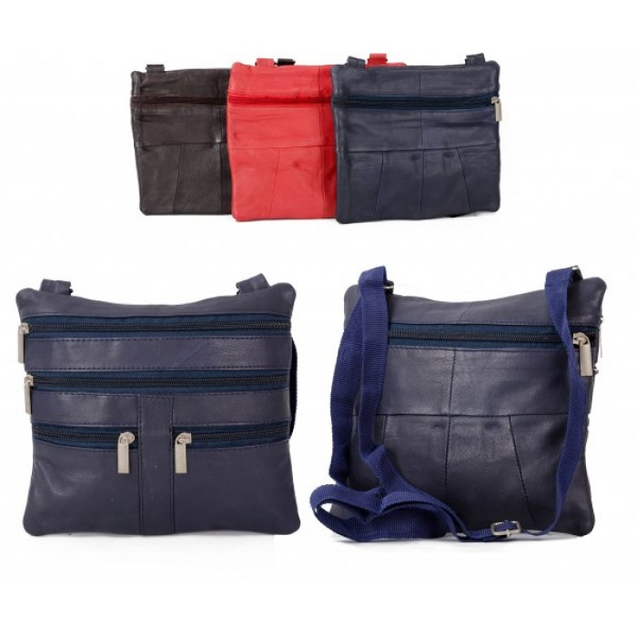 907 BLUE LEATHER/PU CROSSBAG