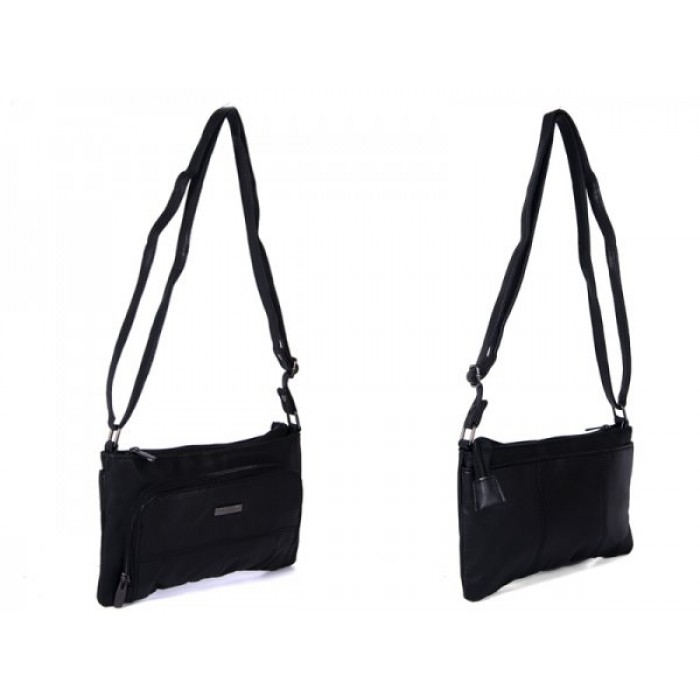 1903 BLACK LEATHER BAG WITH 2 ZIPS POP REAR