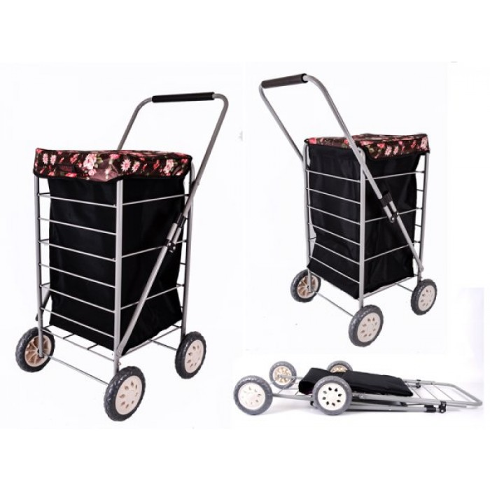6963 BLACK BROWN ROSES 4 WHEEL CAGE SHOPPING TROLLEY