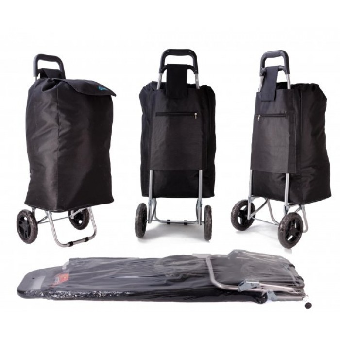 EV-433 BLACK SHOPPING TROLLEY W/ VELCRO AND STRING PULL