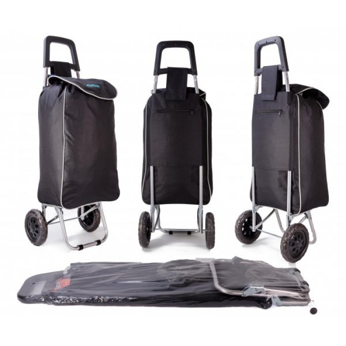 EV-430 BLACK SHOPPING TROLLEY W/ VELCRO AND STRING PULL