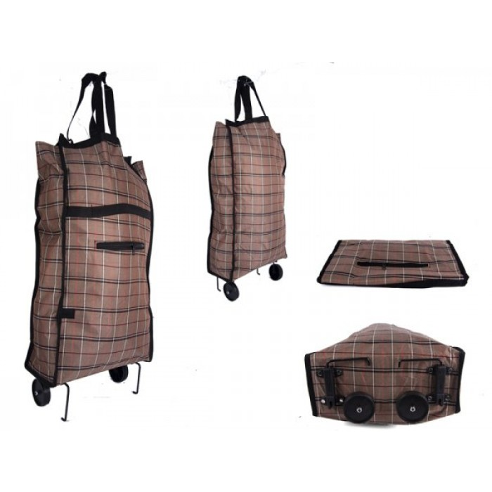 6951 BROWN CHECK FOLDING 2 WHEEL SHOPPING TROLLEY