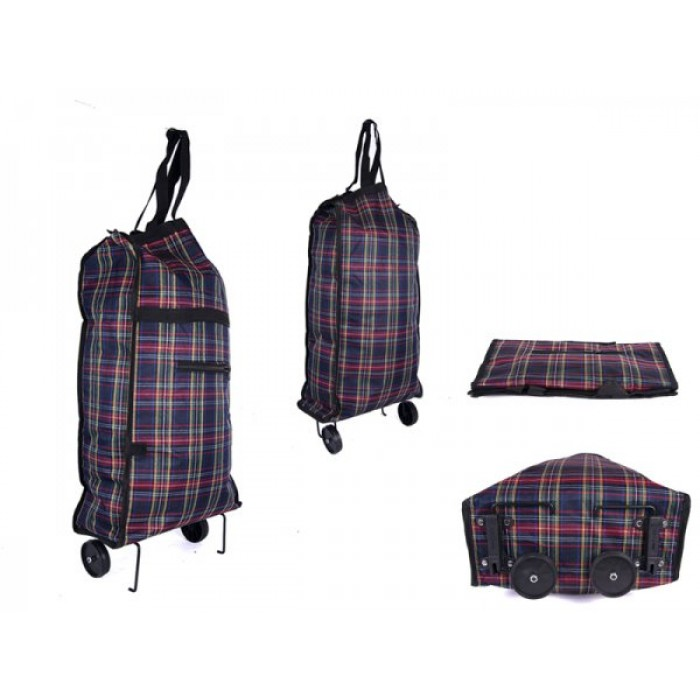 6951 NAVY CHECK FOLDING 2 WHEEL SHOPPING TROLLEY