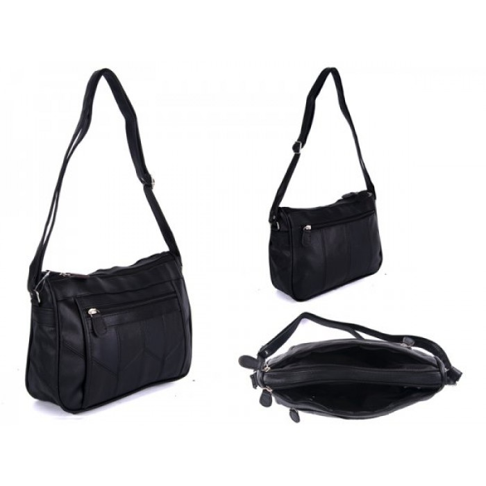 JBHB2558 BLACK XBDY HANDBAG WITH 4 ZIPS
