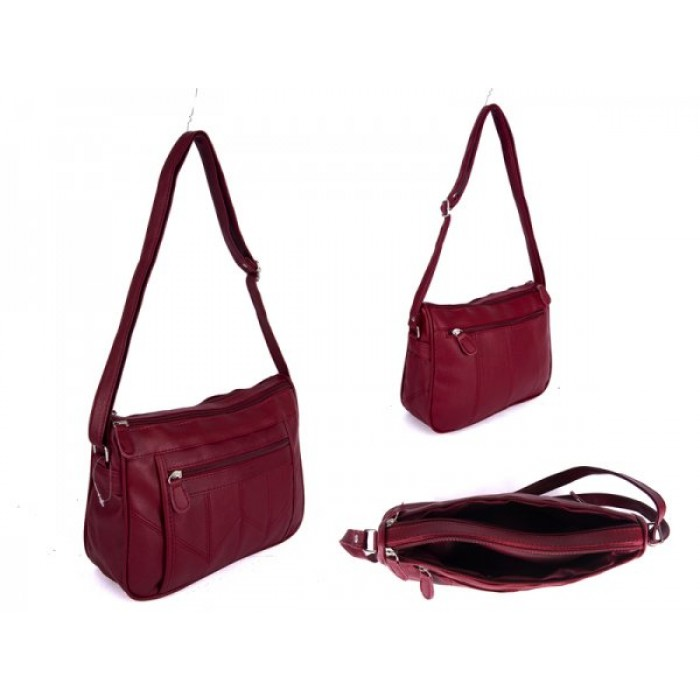 JBHB2558 WINE XBDY HANDBAG WITH 4 ZIPS