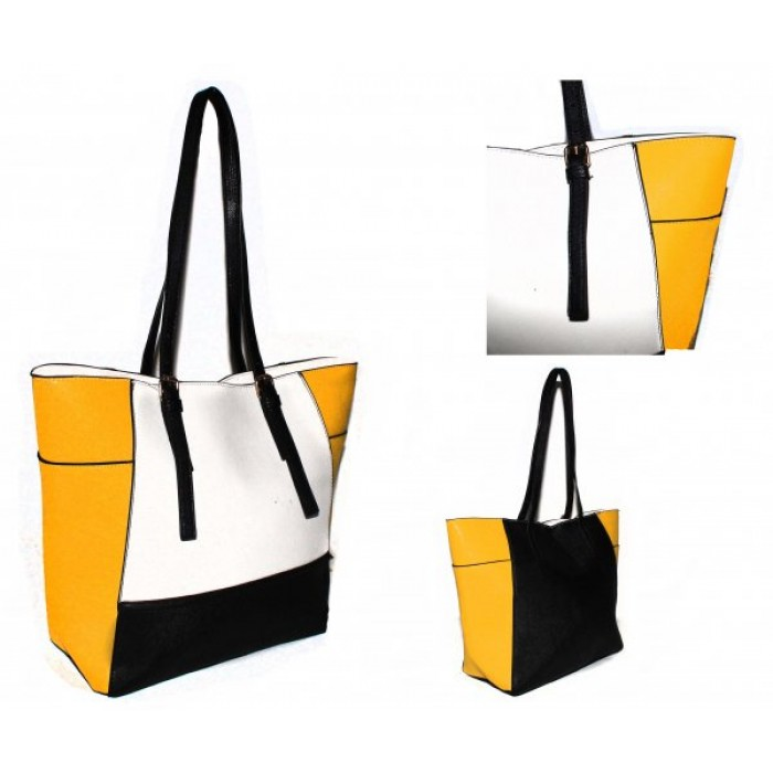 JBFB266 - WHITE / YELLOW - HANDBAG WITH ADJUSTABLE STRAP